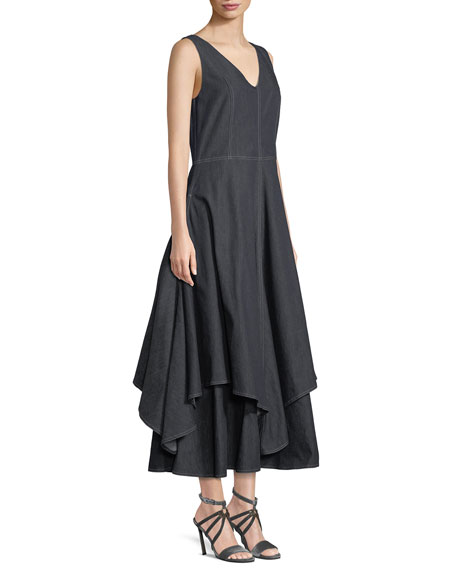 V-Neck Sleeveless Flounce-Hem Denim Dress w/ Contrast Stitching