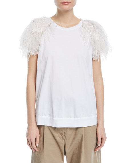 Feather-Trim T-Shirt