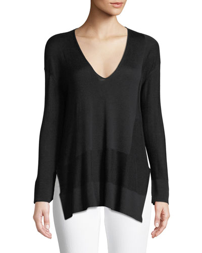 V-Neck Long-Sleeve Silk-Cotton Knit Pullover Sweater