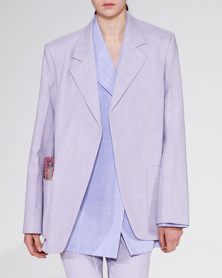 Notched-Lapels Open-Front Menswear-Inspired Blazer