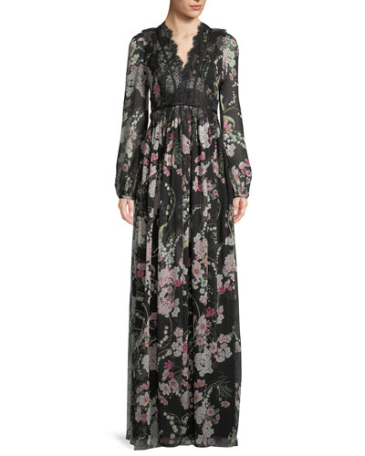 Long-Sleeve Lace-Trim Floral Chiffon Gown