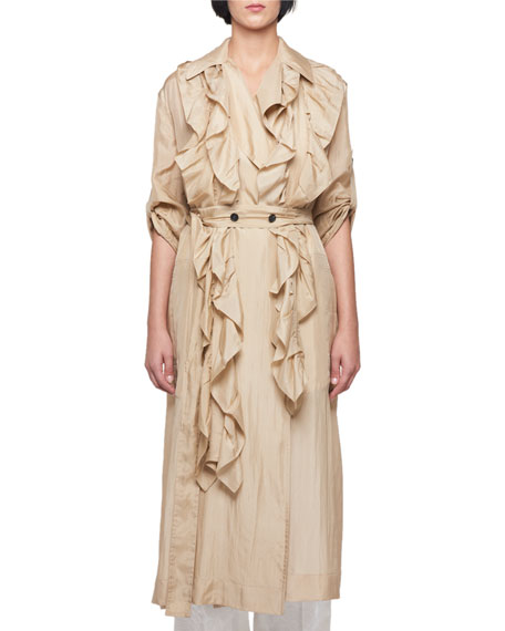 Silk Habutai Belted Long Ruffled Trench Coat