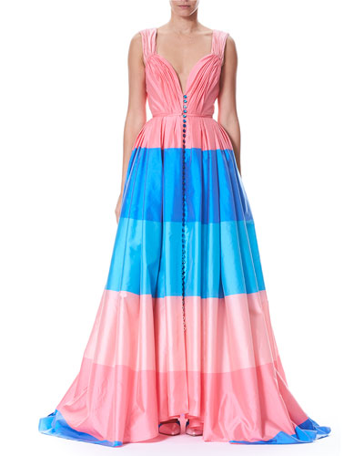 Wide-Stripe Sweetheart Cap-Sleeve Taffeta Evening Gown