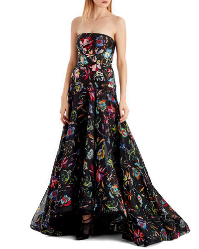 Floral-Printed Silk Organza Strapless Evening Gown