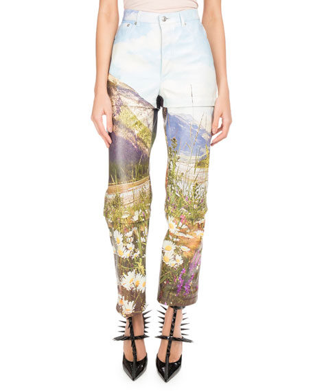 Mountains-Print Tri-Panel Straight-Leg Leather Pants