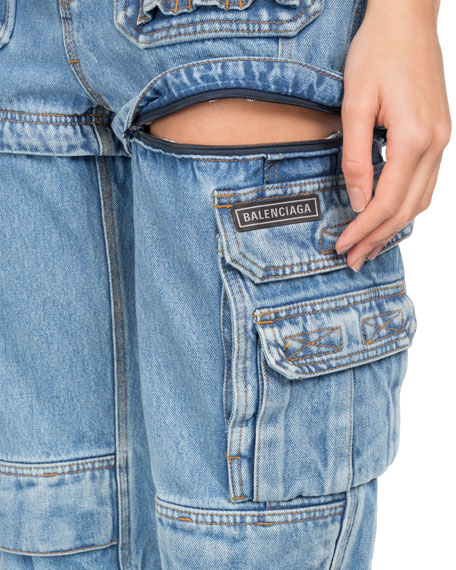 Tri-Panel Multi-Pocket Straight-Leg Jeans