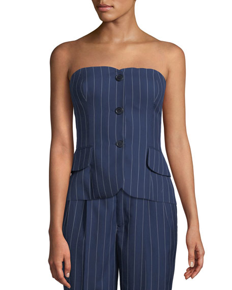 Blanche Pinstriped Bustier Top, Blue/White