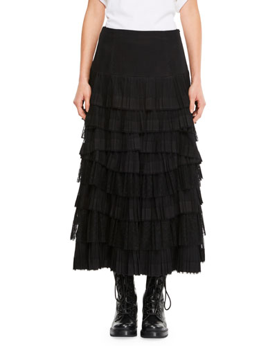 Layered Tulle Skirt w/ Front Slit
