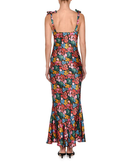 Floral Tie-Shoulder Midi Dress