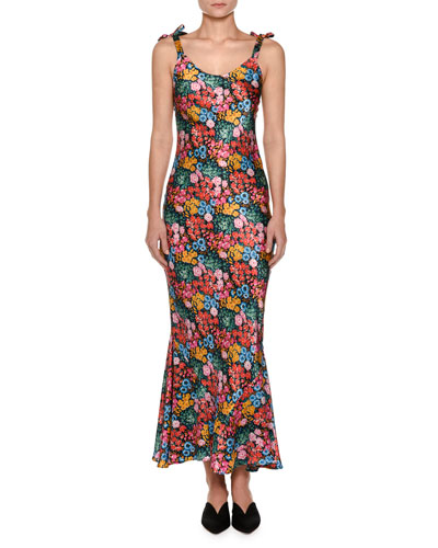 Floral Tie-Shoulder Midi Dress