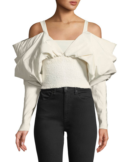 EXAGGERATED SLEEVES SMOCKED TAFFETA CROP TOP