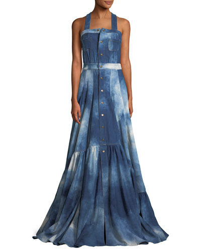 Brooke Sleeveless Denim Evening Gown