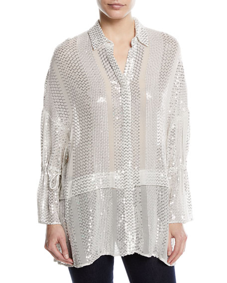 Sequin-Striped Tie-Sleeve Blouse
