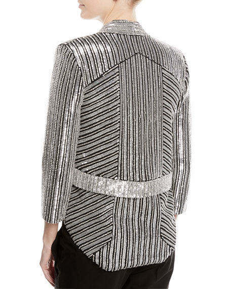 Sequined Open-Front Blazer