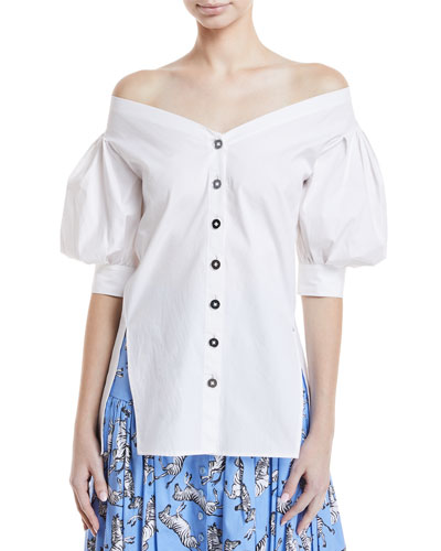 Off-Shoulder Button-Front Blouse
