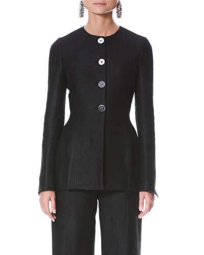 Long-Sleeve Button-Front Tweed Jacket