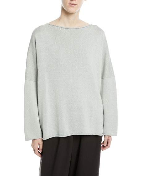 Hand-Loomed Mercerized Cotton Long-Sleeve Knit Top