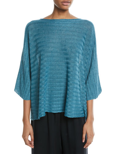 Hand-Loomed Lightweight Linen 3/4-Sleeve Top