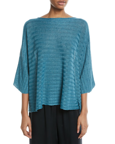 Hand-Loomed Lightweight Linen 3/4-Sleeve Top