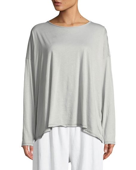 Long-Sleeve Double-Edge Scoop-Neck Top