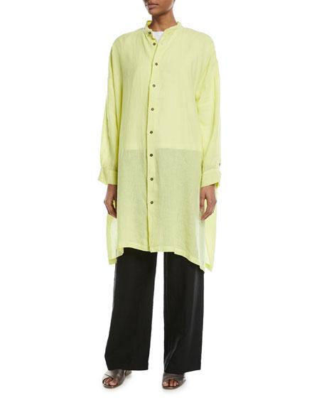 Wide Mandarin-Collar Linen T-Shirt