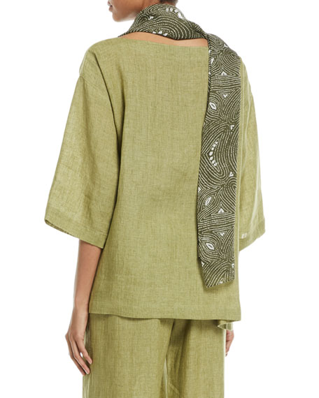 3/4-Sleeve Linen Crosshatch Tunic