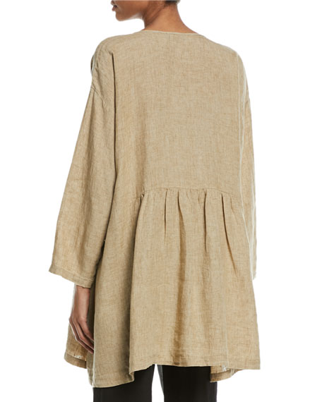 Round-Neck Pleated Linen T-Shirt