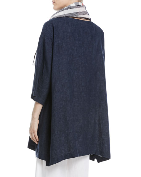 3/4-Sleeve Crosshatch Linen Tunic