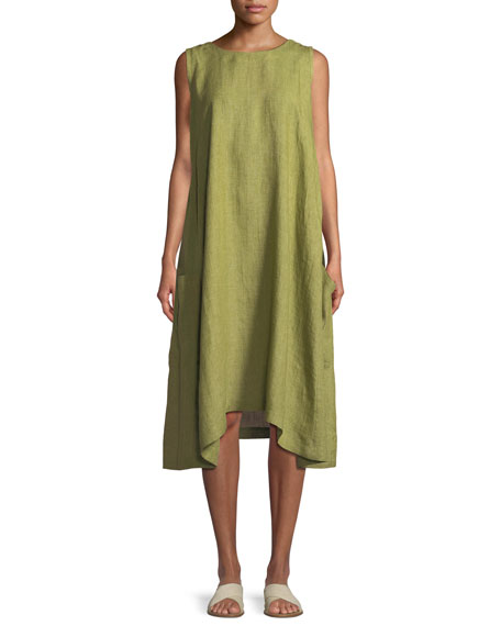 Pleated Sleeveless Linen Dress with Pockets