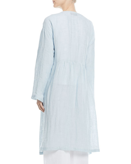 Round-Neck Linen-Blend Pleated Coat