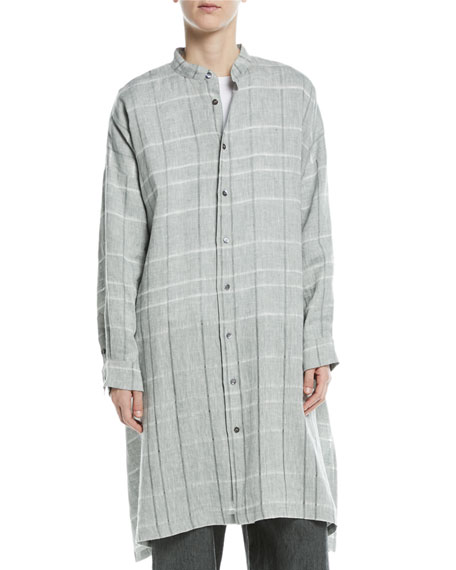 Mandarin-Collar Check Linen T-Shirt
