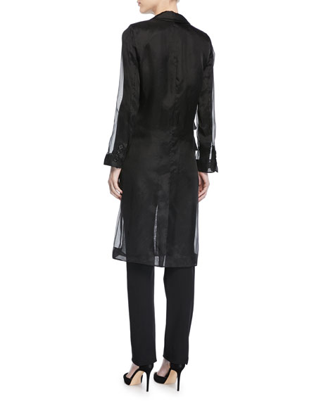 Soraga Long-Sleeve Silk Organza Trench Coat
