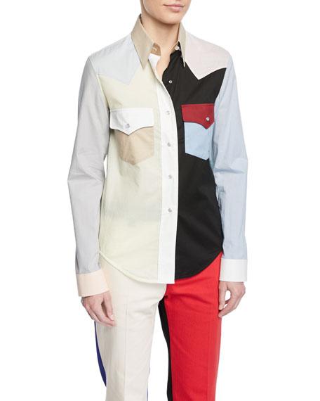 CALVIN KLEIN 205W39NYC Colorblock Button-Down Long-Sleeve Cotton