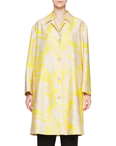 Reese Floral Button-Front Trenchcoat