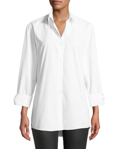 Button-Down Long-Sleeve Cotton Top