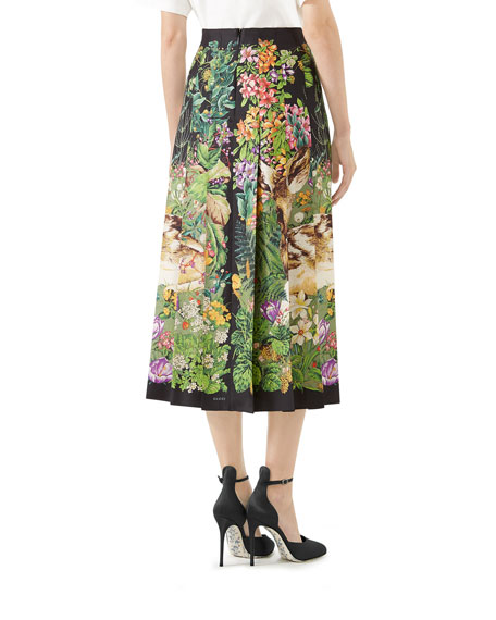 Deer-Print Pleated Twill Midi Skirt