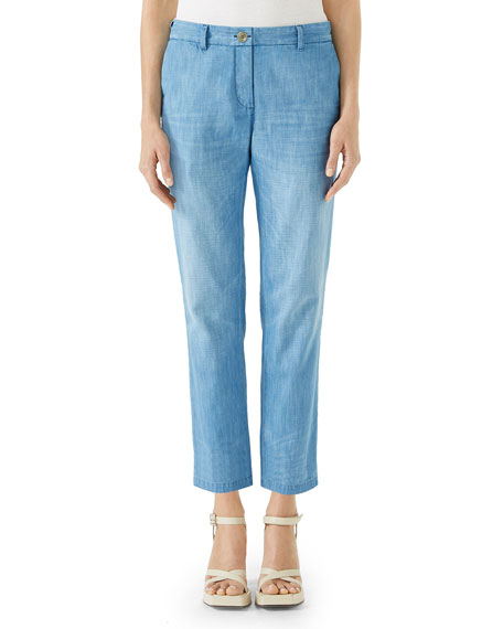 Stone-Bleached Straight-Leg Denim Chino Pants, Blue