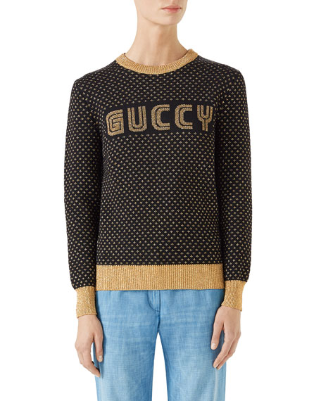 Long-Sleeve Crewneck Lurex® Wool Guccy SEGA Sweater