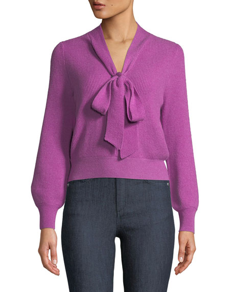 Pussy-Bow Ribbed Cashmere Sweater, Pink