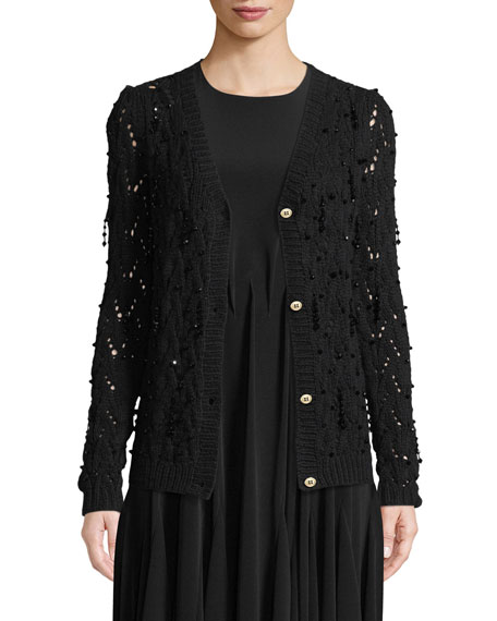 Co Bead-Embellished Hand-Knit Crochet Wool-Cashmere Cardigan