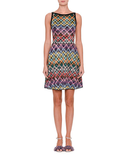Sleeveless Flared Zigzag Dress