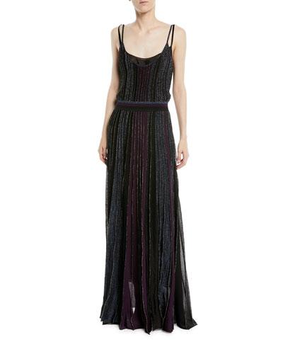 Scoop-Neck Double-Strap Striped Metallic Dress