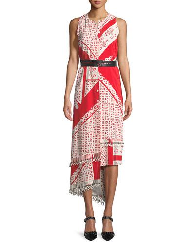 Sleeveless Bandana-Print Midi Dress
