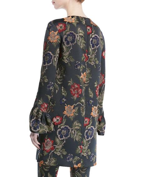 Long-Sleeve Floral-Jacquard Stretch Satin Shift Dress