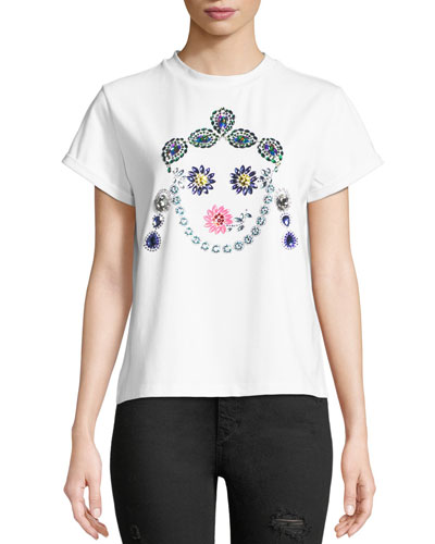 Crown Jeweled Face T-Shirt  White