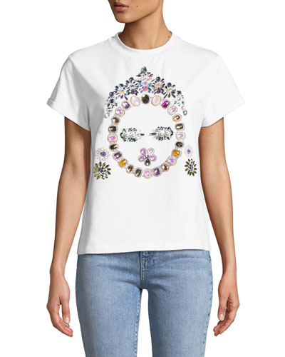 Jeweled Face T-Shirt  White