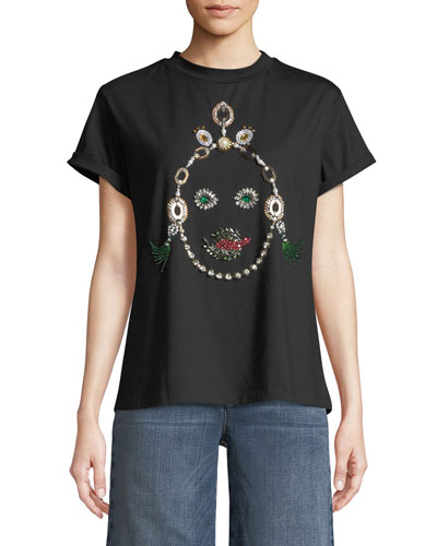 Jeweled Face T-Shirt, Black