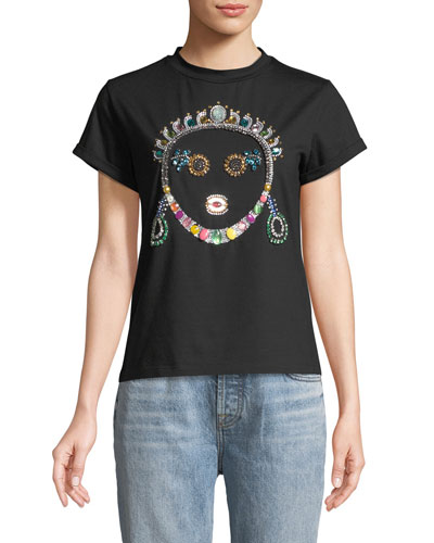 Crown Jeweled Face T-Shirt  Black
