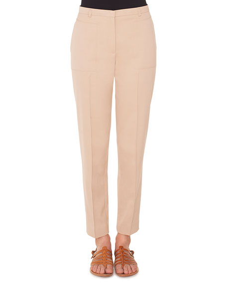 Akris Colin Straight-Leg Cotton-Silk Gabardine Pants
