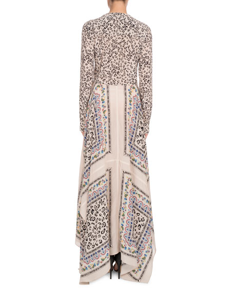 Long-Sleeve Button-Front Printed Crepe de Chine Maxi Dress w/ Scarf Hem
